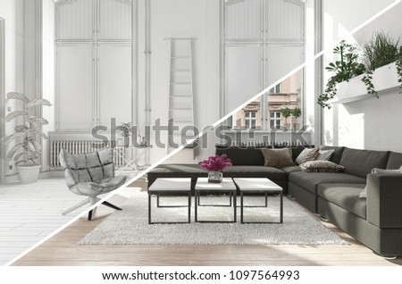modern contemporary living room lounge area stock illustration