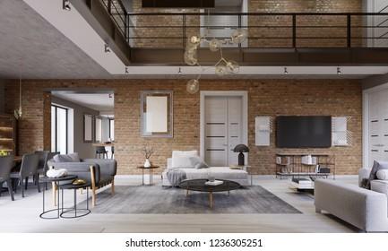 Modern contemporary loft design living room apartment interior. 3d rendering