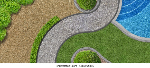Modern contemporary luxurious garden design in aerial view with swimming pool - 3D illustration