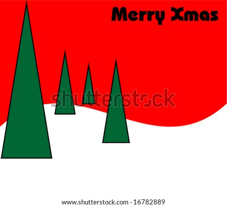 Modern Contemporary Minimalist Christmas Background With Trees And Snow For Greeting Card Or Wallpaper
