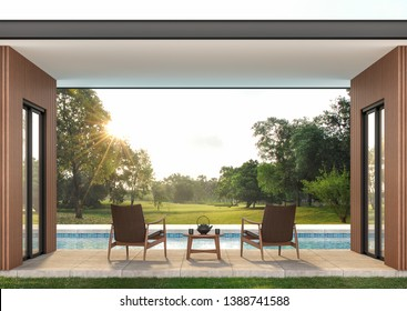 Modern contemporary swimming pool terrace 3d render, There are concrete tile floor and wooden wall, funished with leather chair,looking out over the large garden in the morning.