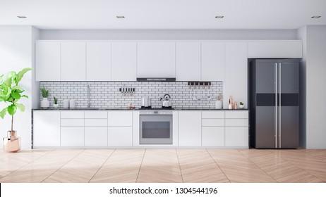 Modern Contemporary white kitchen room interior .3drender