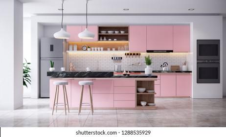 Modern coral kitchen room interior .3d render