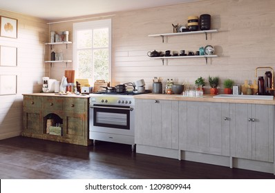 modern country style kitchen interior. 3d design concept illustration