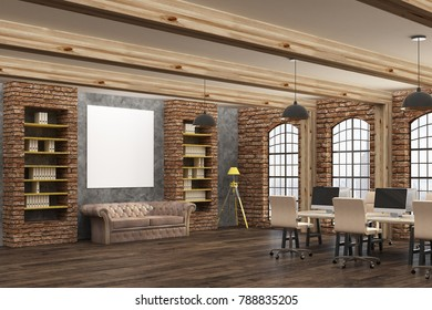 Modern coworking brick office or meeting room interior with empty banner. Mock up, 3D Rendering