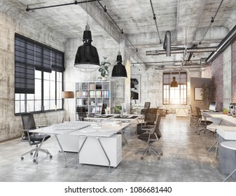 modern coworking loft office . 3d rendering concept