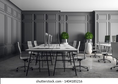 Modern coworking office in classic interior with grey concrete floor. 3D Rendering