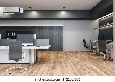 Modern coworking office interior with computers and furniture. Workplace and company concept. 3D Rendering