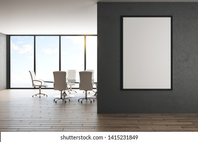 Modern coworking office interior with empty billboard on black wall, furniture, window with city view and wooden floor. Mock up, 3D Rendering