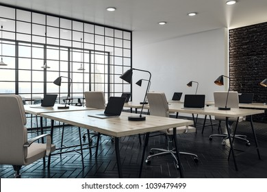 Modern coworking office interior with panoramic city view and daylight. 3D Rendering