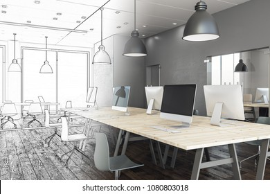 Modern coworking office interior sketch. Engineering and design concept. 3D Rendering