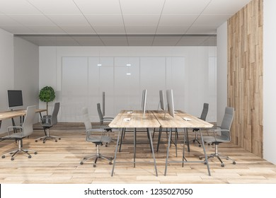 Modern coworking wooden office interior. 3D Rendering