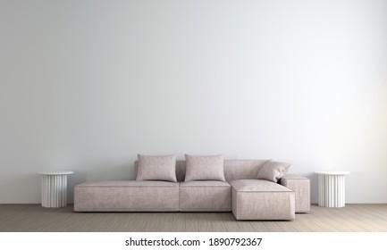 Modern cozy interior design of living room-3d rendering