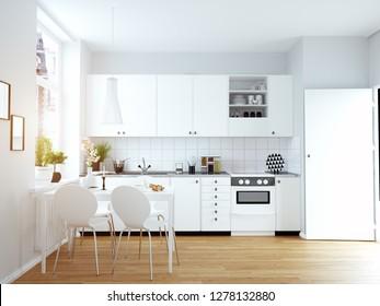 modern cozy kitchen interior. 3d rendering design concept