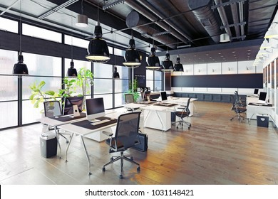 Modern Cozy Loft Office Interior. 3d Rendering