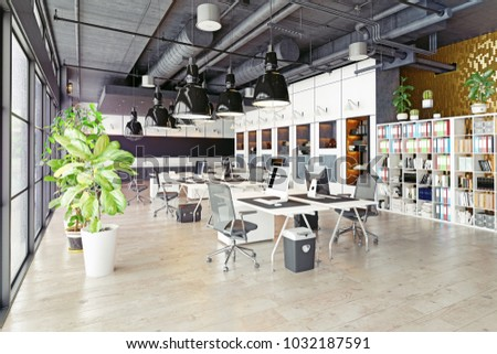 Loft office White Modern Cozy Loft Office Interior 3d Rendering Shutterstock Modern Cozy Loft Office Interior Stock Illustration Royalty