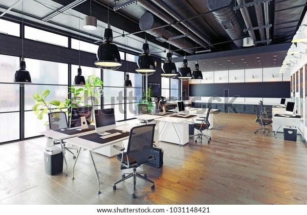 modernes, gemütliches Loft-Büro-Interieur. 3D-Rendering