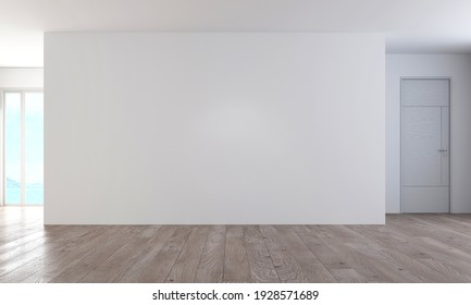 Modern cozy mock up interiors design of living room space and white empty wall texture background, 3d rendering