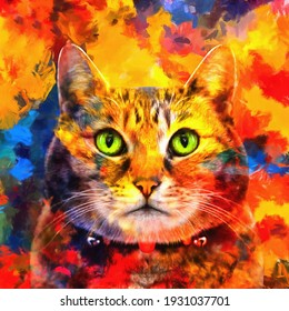 modern cute lovely cat with green eyes oil painting. Abstract painting for interior decoration. artist collection of animal painting for decoration and interior, canvas art