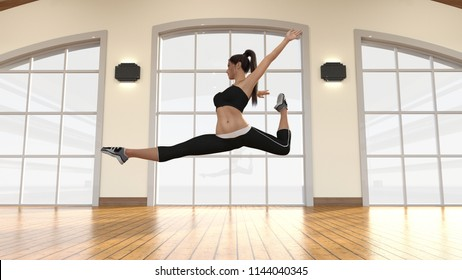 Modern Dance with Female Dancer Dancing Artistically 3D Render