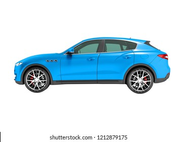 Modern dark blue crossover car for business trips side view 3D render on white background no shadow