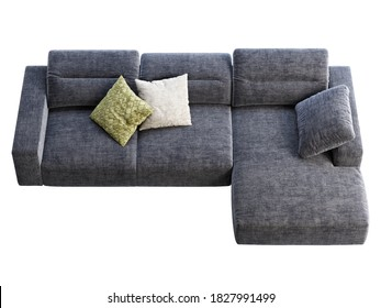 Modern dark blue fabric sofa with adjustable backrest. Textile upholstery chaise lounge sofa with pillows on white background. Modern, Loft, Scandinavian interior. 3d render
