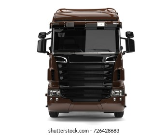 Modern dark brown heavy transport truck without a trailer - front view - 3D Illustration