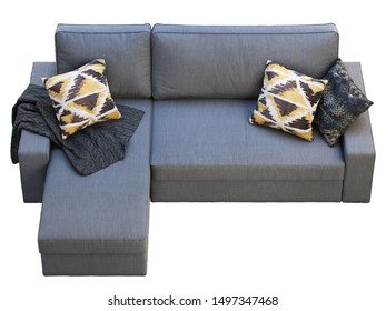 Modern dark gray fabric sofa with chaise lounge. Textile upholstery three-seat corner sofa with pillows and knitted throw on white background. Scandinavian interior. 3d render