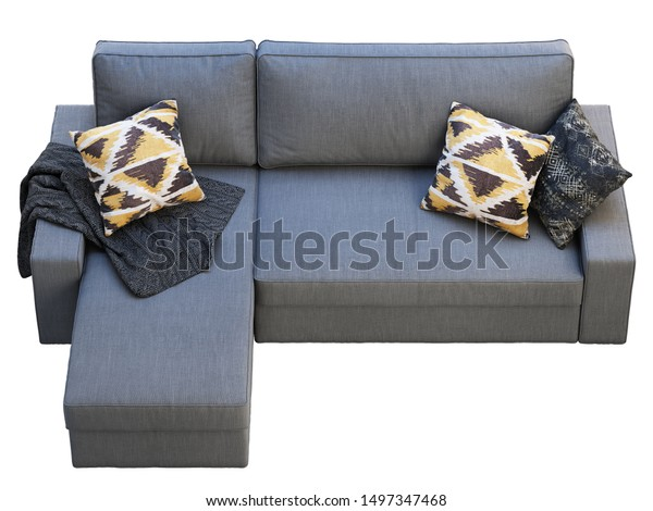 Amazing Modern Dark Gray Fabric Sofa Chaise Stock Illustration Camellatalisay Diy Chair Ideas Camellatalisaycom
