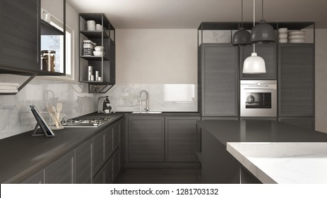 Modern dark gray kitchen with wooden details and parquet floor, modern pendant lamps, minimalistic interior design concept idea, island with stools and accessories, 3d illustration