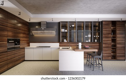Modern dark wooden contemporary kitchen interior with glass cabinets, furniture and equipment. 3d rendering