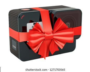 Modern dashcam DVR with bow and ribbon, 3D rendering. Gift concept isolated on white background