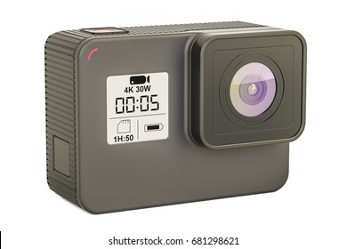 Modern dashcam DVR closeup, 3D rendering isolated on white background