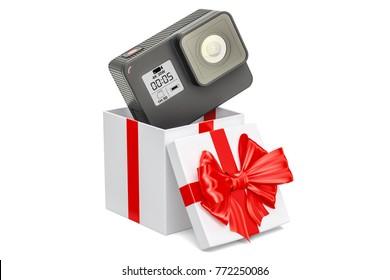 Modern dashcam DVR inside gift box, gift concept. 3D rendering isolated on white background