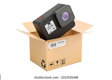 Modern dashcam DVR inside parcel, delivery concept. 3D rendering isolated on white background