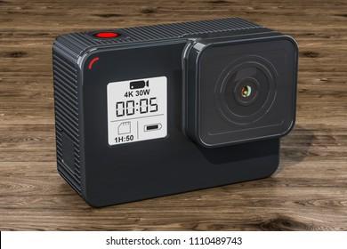Modern dashcam DVR on the wooden table, 3D rendering
