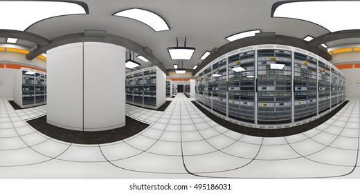 Modern Data Center Server Room VR360 3D Illustration