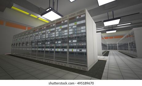 Modern Data Center Server Room 3D Illustration