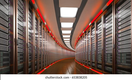 Modern datacenter. Cloud computing. 3d rendering