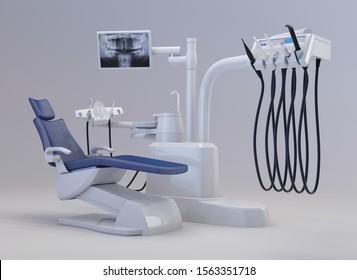 Modern dental chair on a white background. Dental equipment. 3d rendering