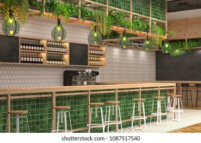 Modern design of the bar in loft style with green colors.  3D visualization  of the interior of a cafe with a bar counter. Blurred background with depth of field.