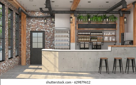 Modern design of the bar in loft style.  3D visualization of the interior of a cafe with a bar counter.