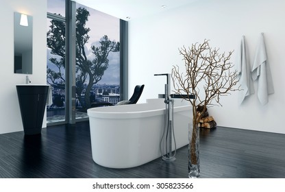 Modern design bathroom interior with a luxury freestanding bathtub. Concept for lifestyle and luxury living. 3d Rendering.