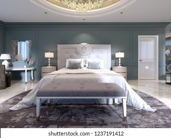 The modern design of the bedroom with a large white bed and a stool with a dressing table nearby. dark walls light furniture, white marble floor. 3d rendering.