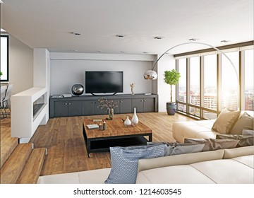 modern design living room interior. 3d rendering concept
