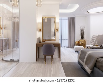 Modern design Suite with elegant furnishings and an open bathroom and bedroom. 3D rendering.