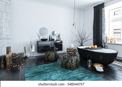 Modern designer bathroom interior with black decor and an Oriental style finish in a large room lit by daylight from large windows, 3d rendering