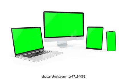 Modern devices isolated on white background 3D rendering
