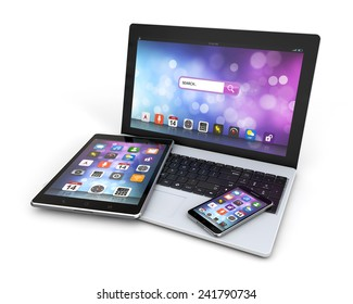 modern devices laptop, smartphone, tablet isolated white background with clipping path