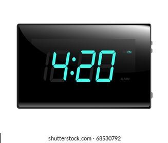 Modern digital alarm clock illustration raster. Isolated on white.  Display reads four twenty.